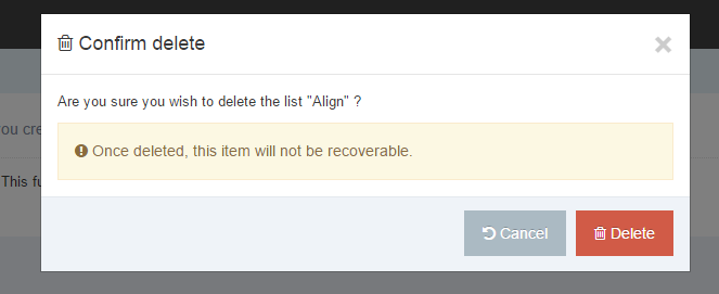 Screenshot showing the modal requesting a confirmation on a list deletion