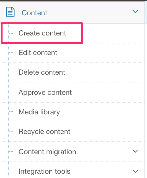 Screenshot of the Create Content option highlighted in the menu