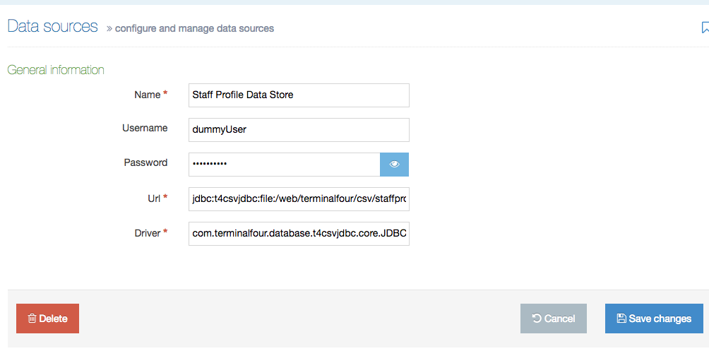 Screenshot of the Data Sources Configuration screen