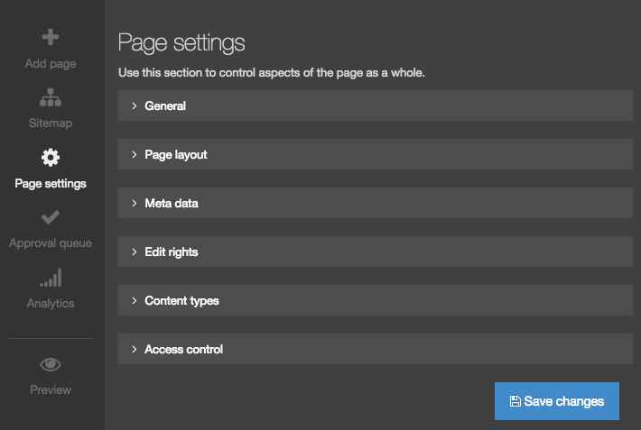 Screenshot of the Page Settings options in Direct Edit