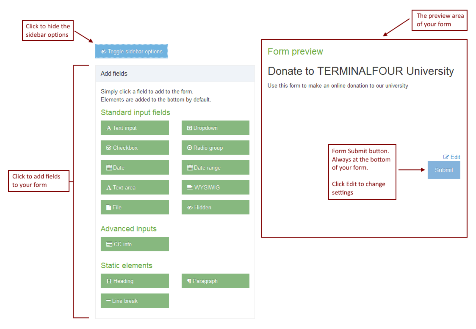 Screenshot of Forms fields and preview