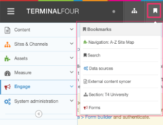 Screenshot showing the Bookmark listing in the Header Menu