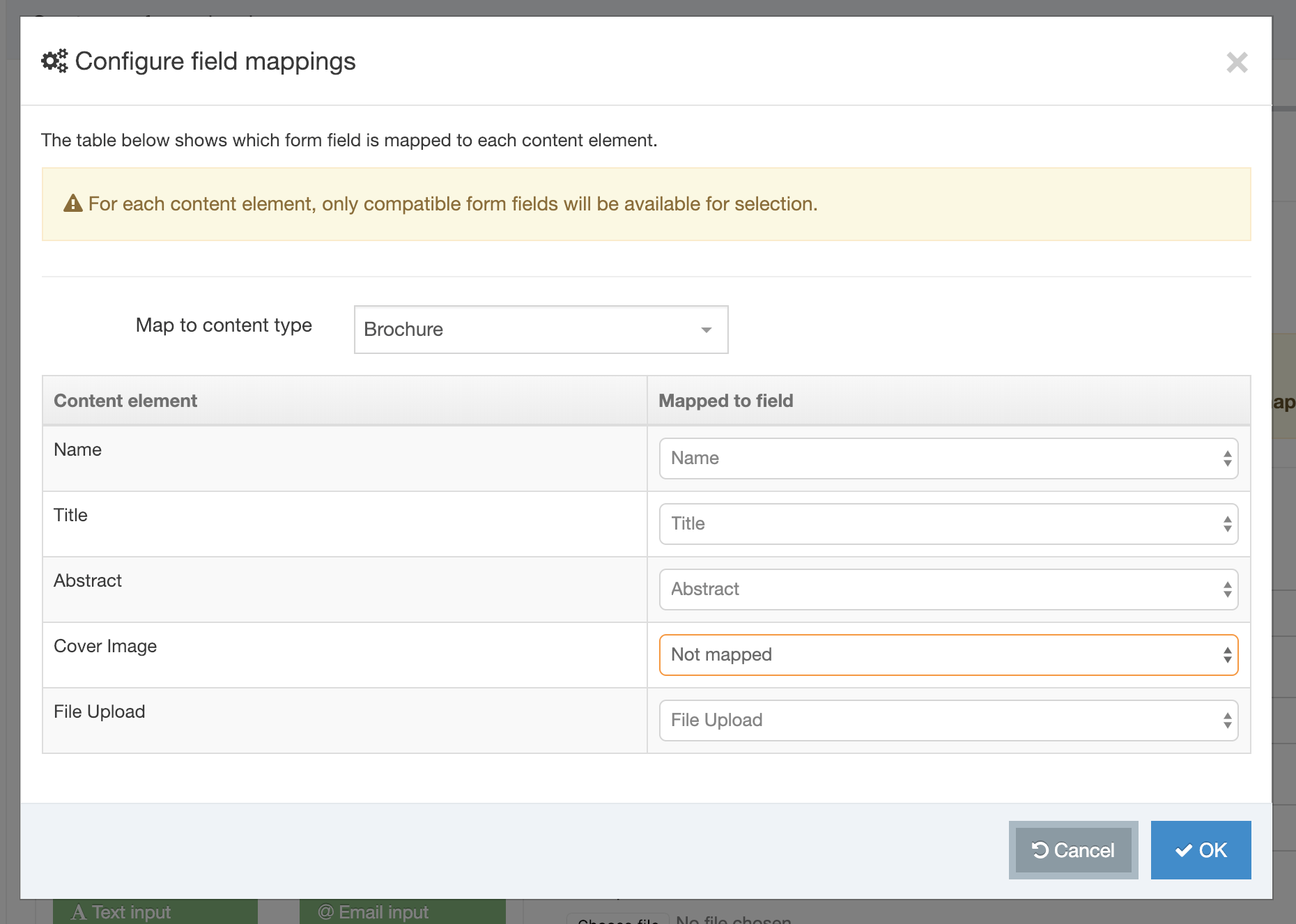 Screenshot of the Configure Field Mappings modal