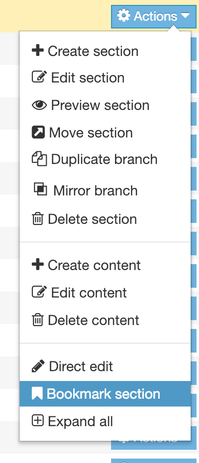 Screenshot of the Section Action Menu with the the Bookmark Section option highlighted