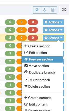 Screenshot of the Section Action Menu with Preview Section highlighted