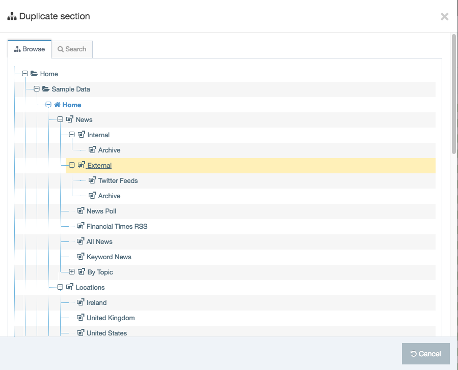 Screenshot of a selected Section in the Site Structure as displayed within the Duplicate Section modal
