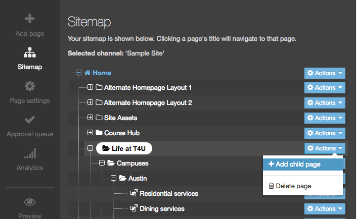 Screenshot of the Sitemap Direct Edit options with Add Child Page highlighted
