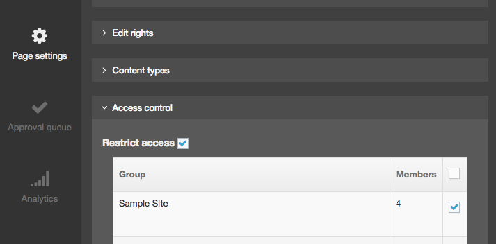 Screenshot of the Access Control options in Direct Edit