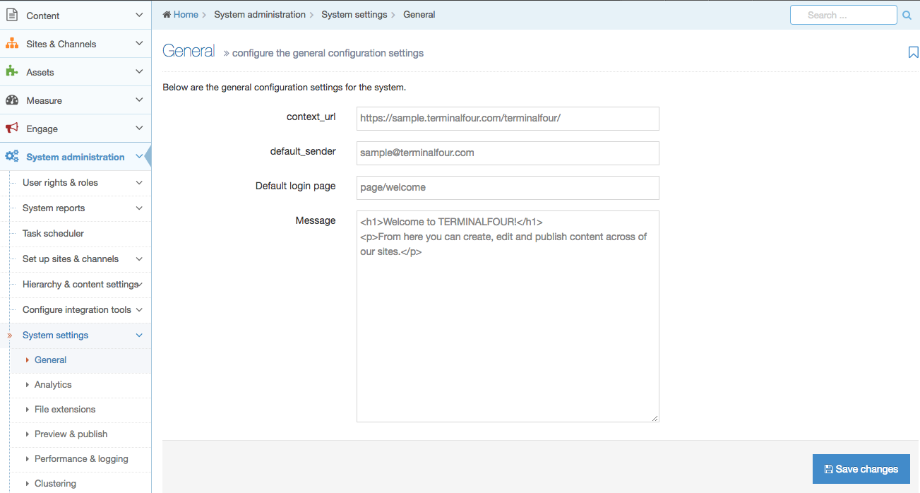 Screenshot of the General System Settings screen where the default login page will display the welcome message