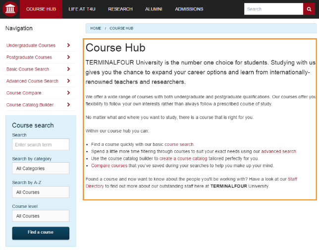 Screenshot of a page highlighting the main content area