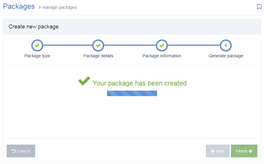 Screenshot of Package Creation Confirmation