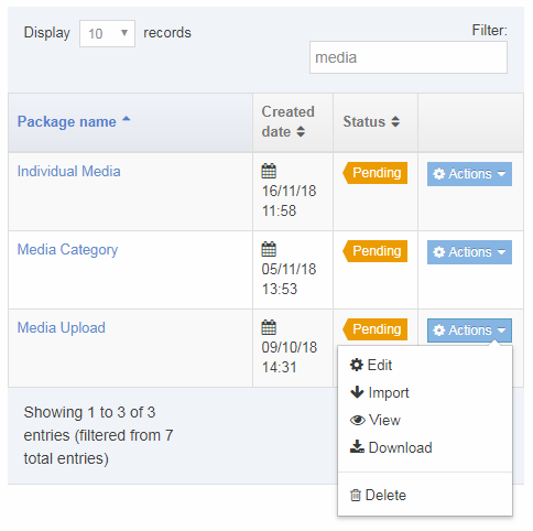 Screenshot of the actions menu for Media Archive Packages