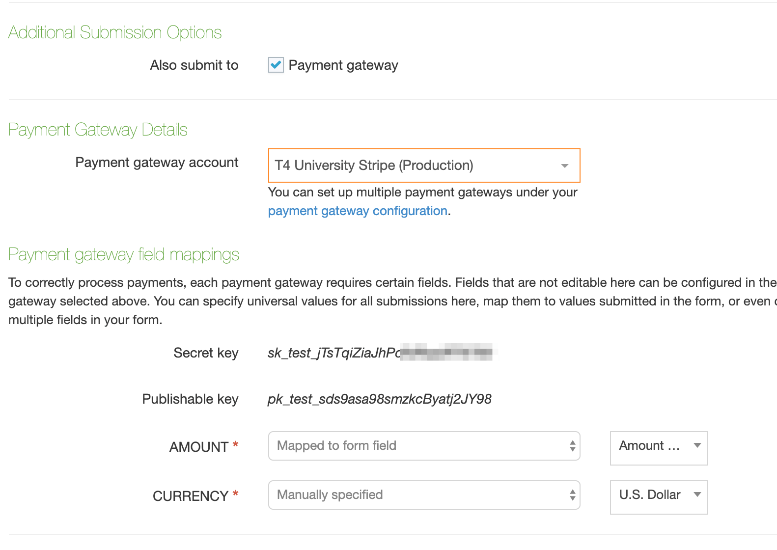Form Builder options for Payment Gateway