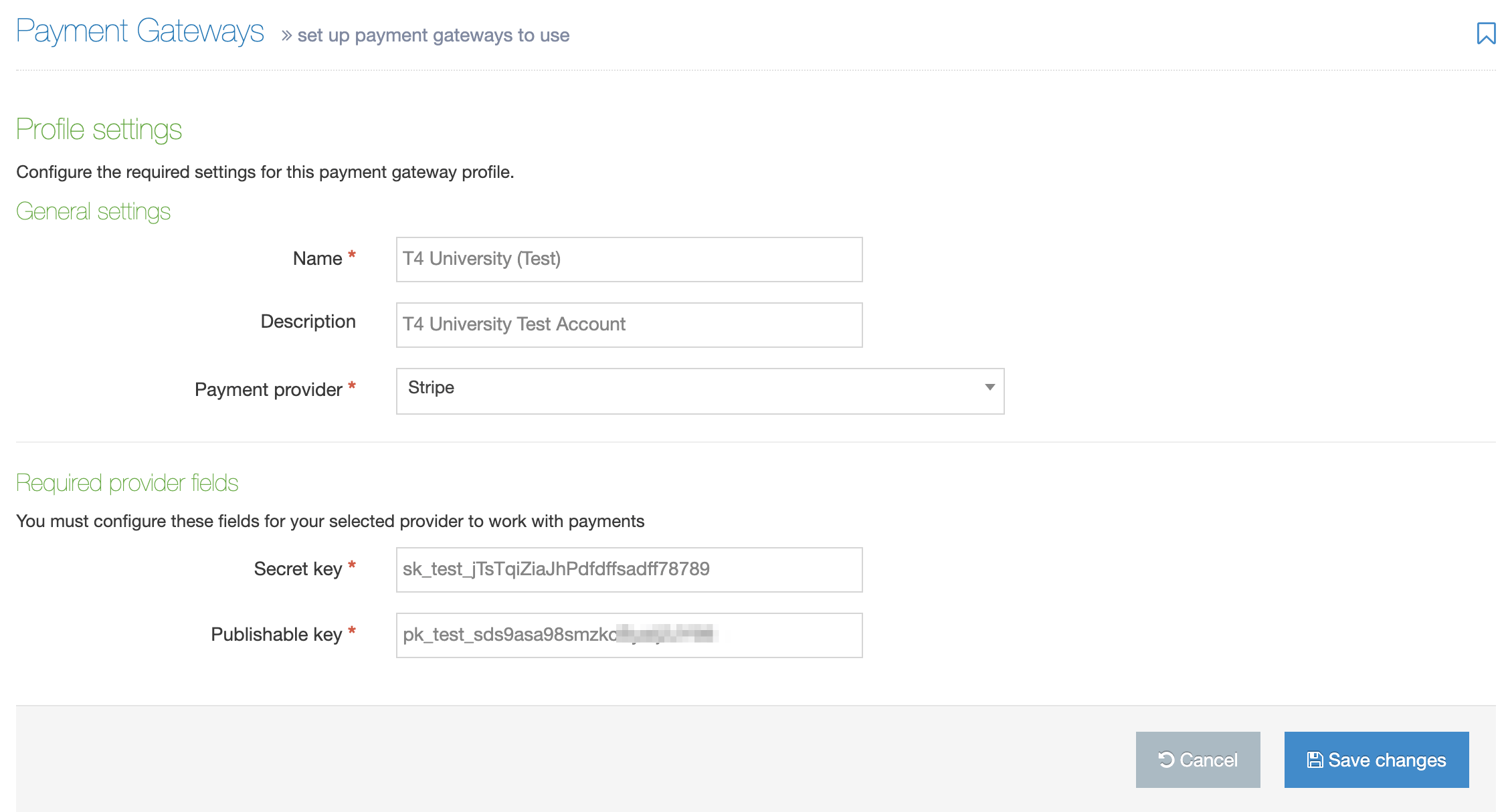 Screenshot of the Payment Gateway Settings screen