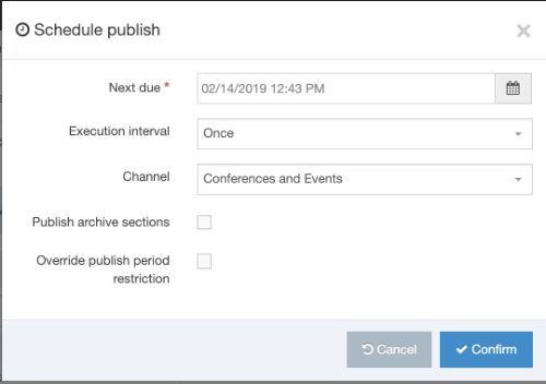 Screenshot of schedule publish modal