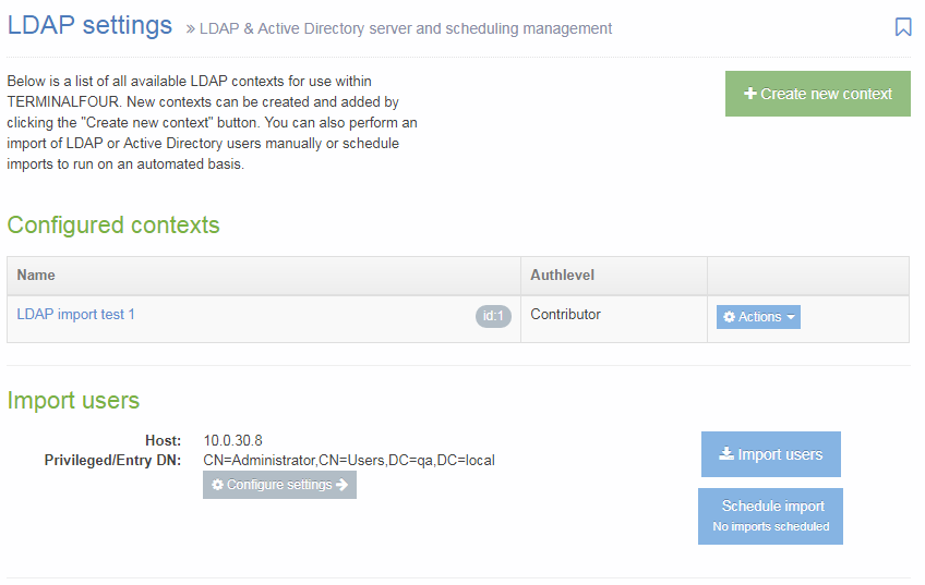 LDAP Settings start page screenshot