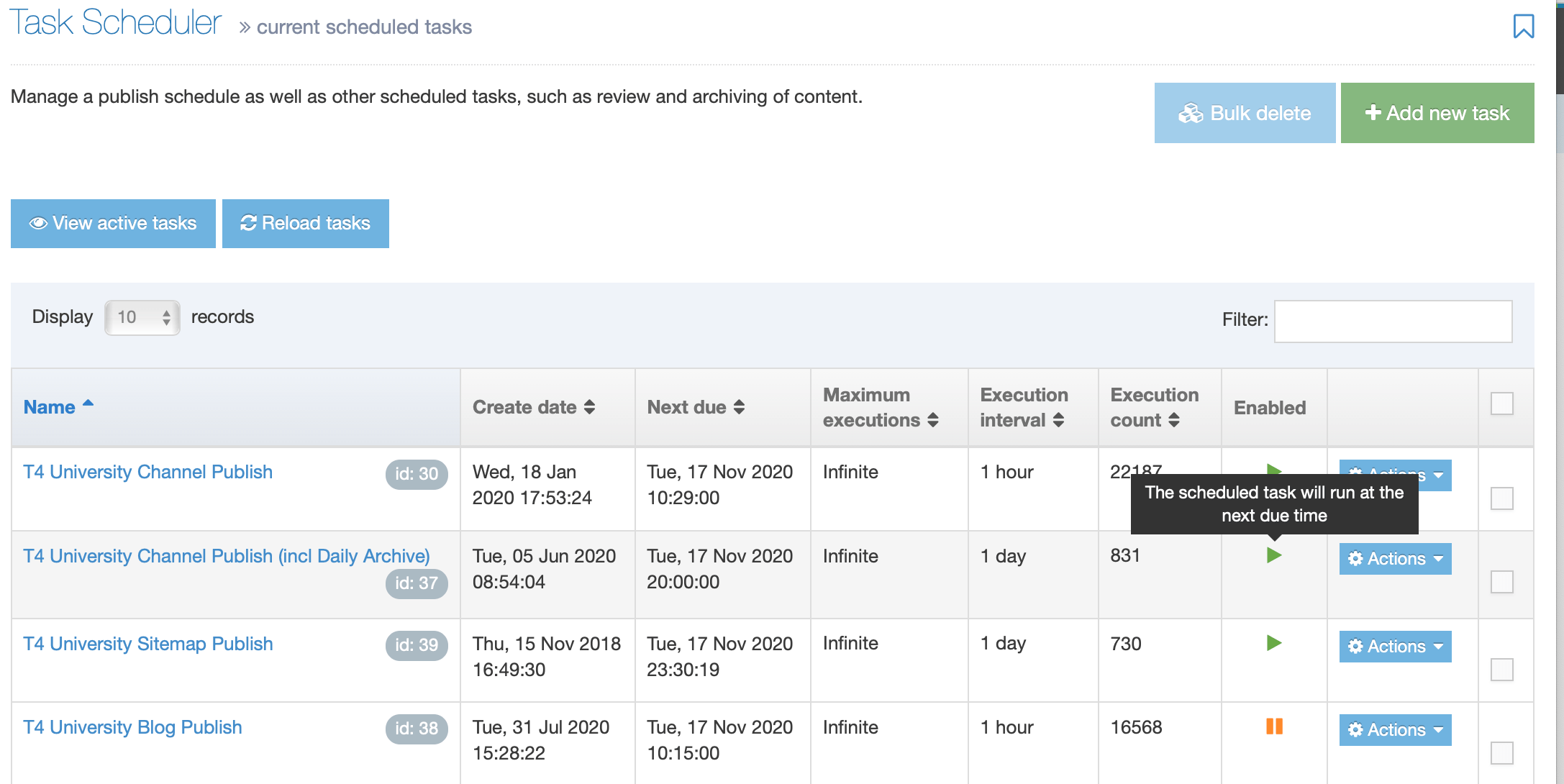 Screenshot of the Task Scheduler Listing