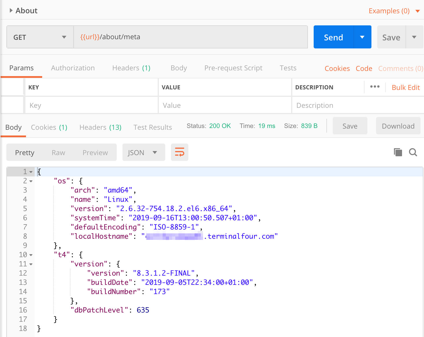 Screenshot of the /about/meta API output in Postman