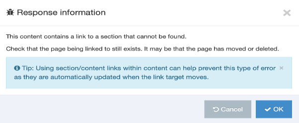 Screengrab of the Response Information modal in the Broken Links Report