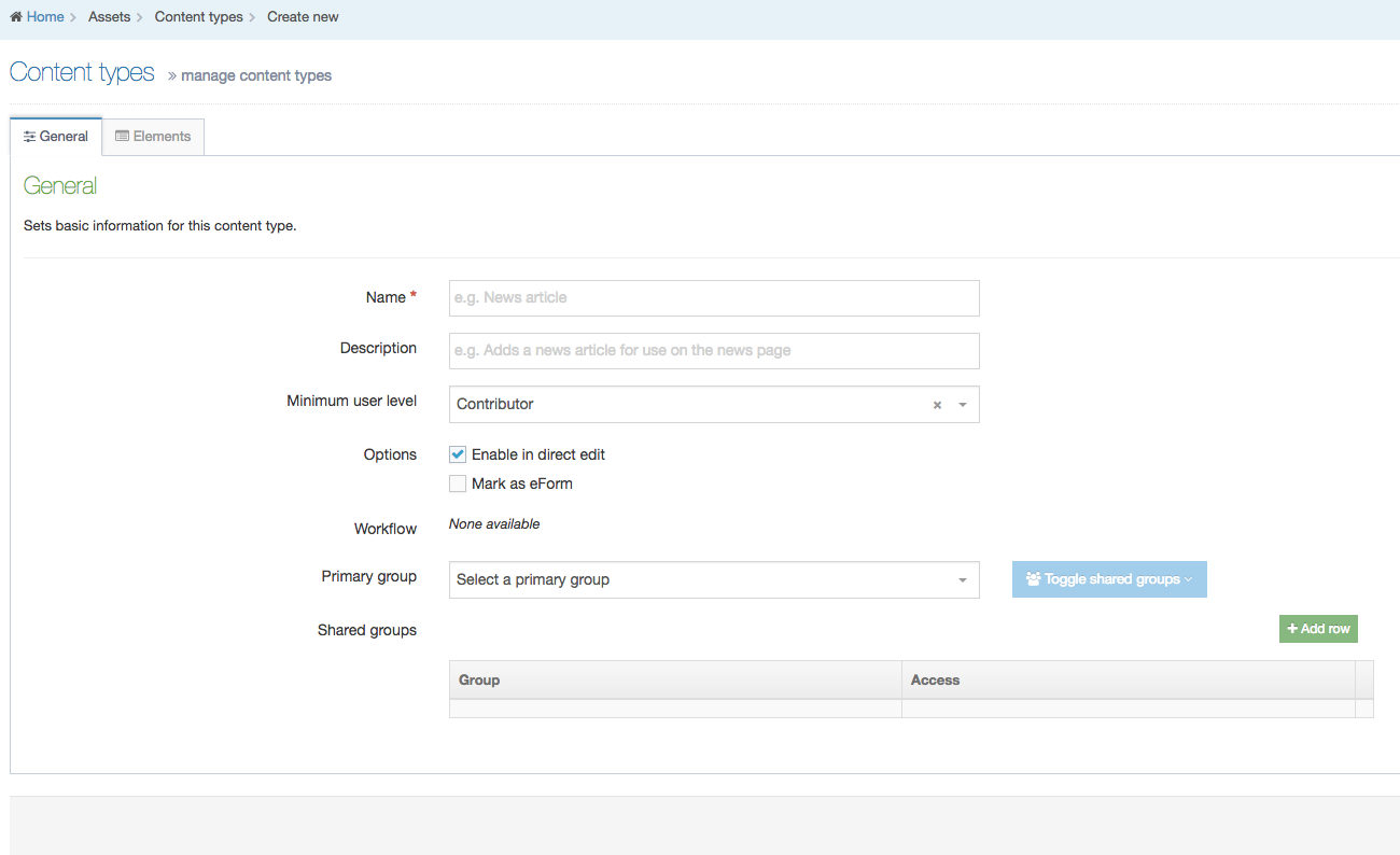 Screenshot of the Manage Content Types screen showing the form elements to be completed