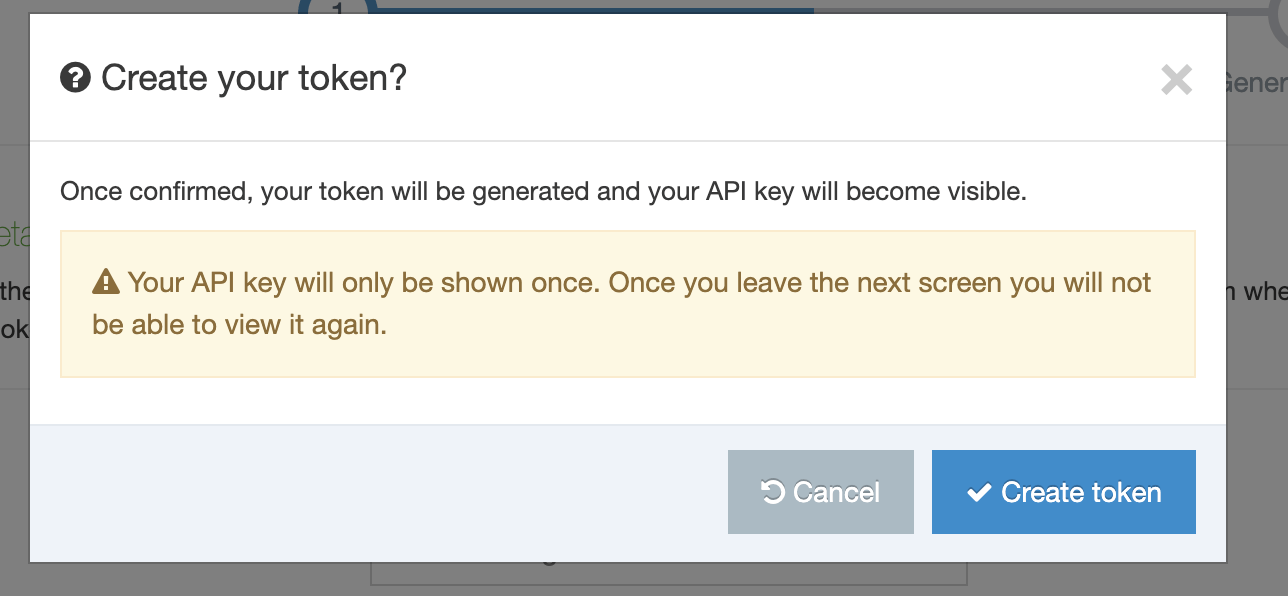 Create Authentication Token confirmation modal