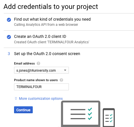Screenshot of the Add Credentials to Project screen in the Google API console