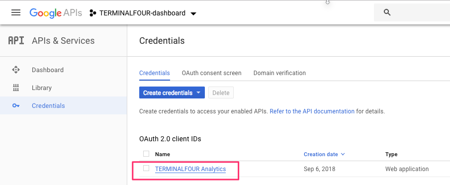Screenshot of a list of credentials in the Google API console