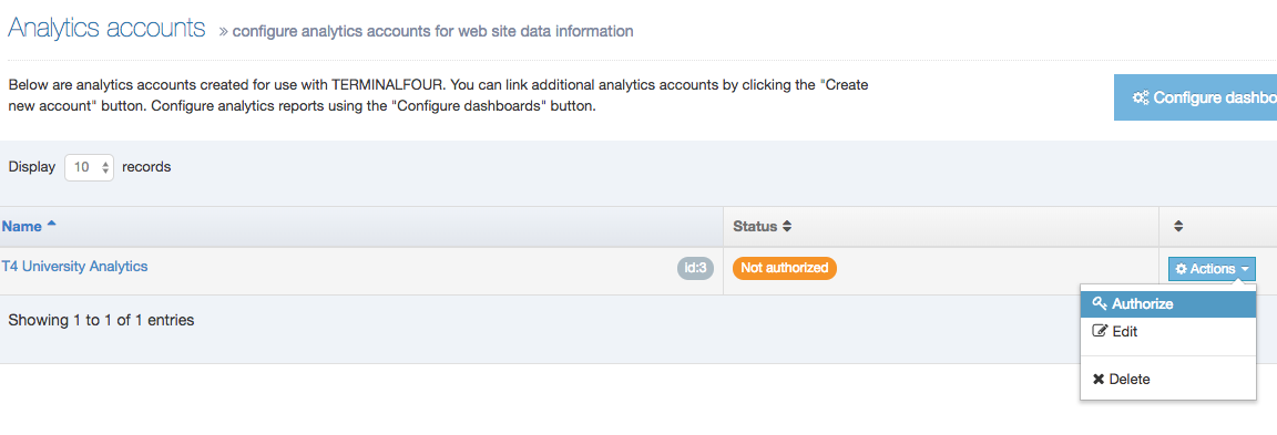 Screenshot showing the Authorize account option being selected