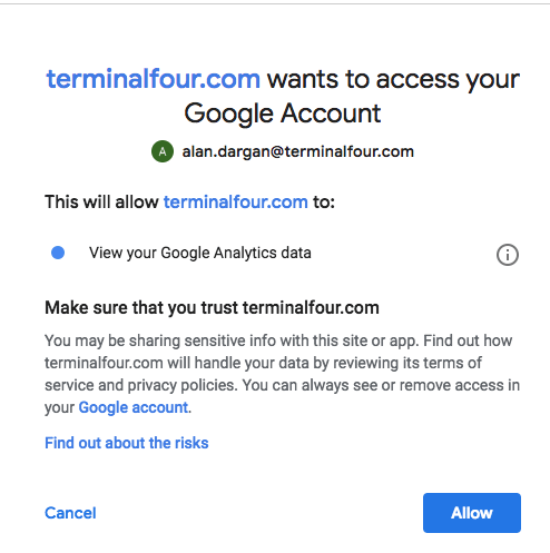 Screenshot of the Google Account authorization screen