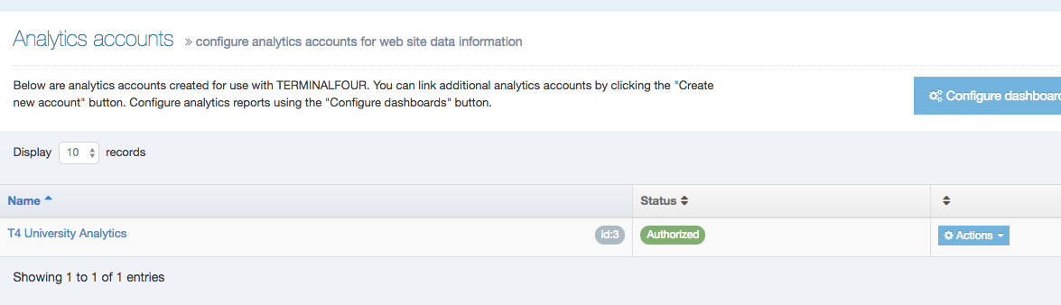 Screenshot of Analytics Account listing screen with account status changed to Approved