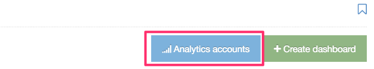 Screenshot of the Analytics Account button when creating a dashboard