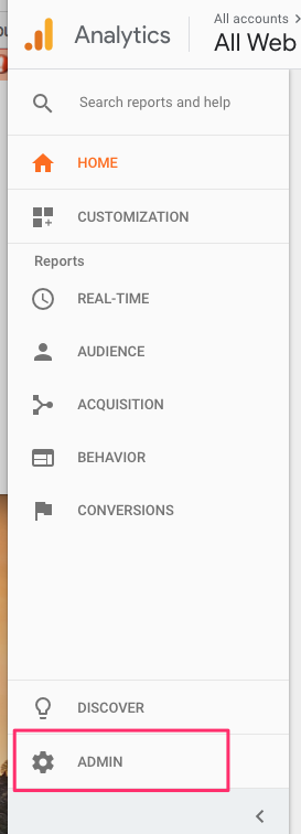 Screenshot of Google Analytics interface with Admin link highlighted