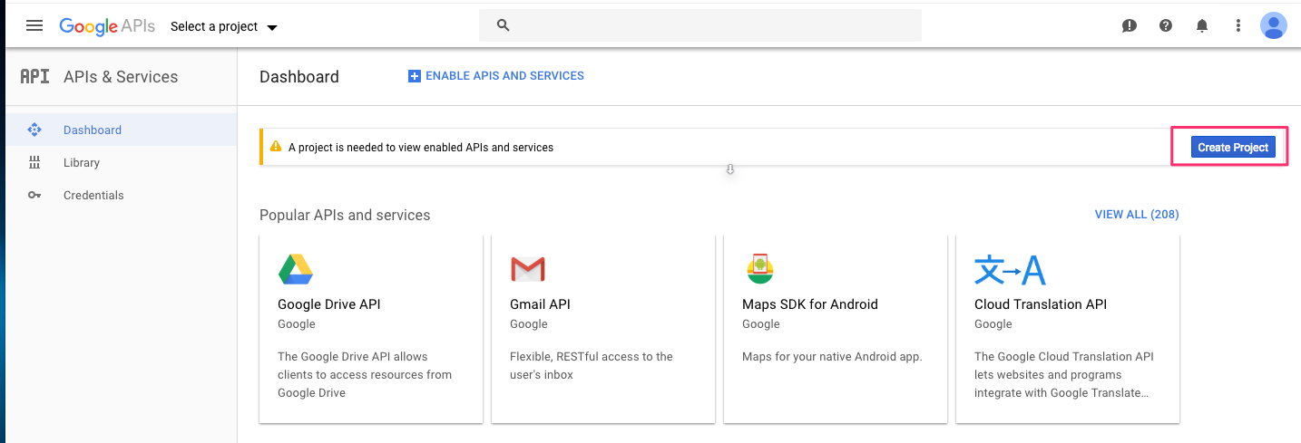 Screenshot of the Google API Console Dashboard