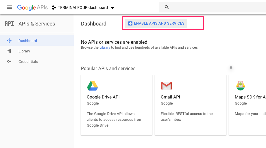 Screenshot of the Enable APIs and Services button from the Google Analytics API console