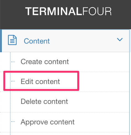 Screengrab of the Content Menu with Edit Content highlighted