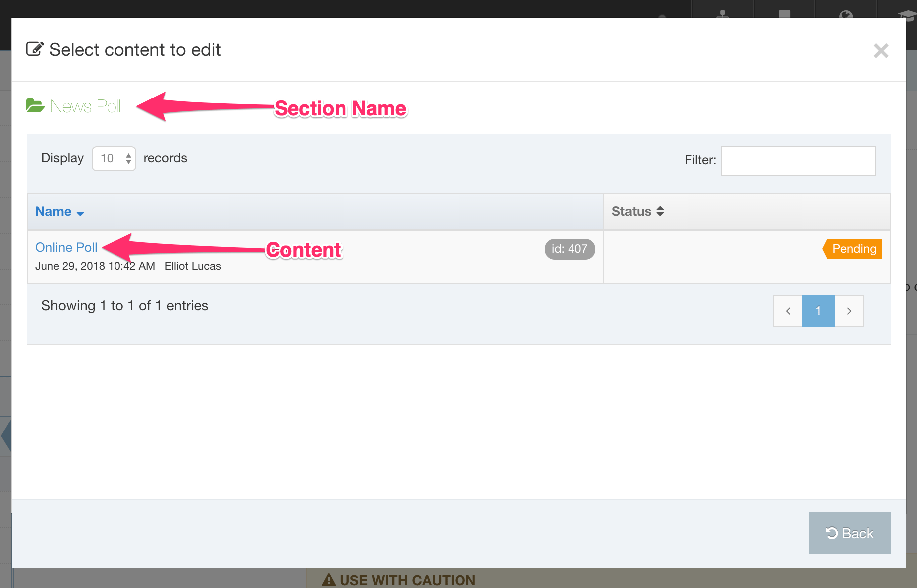 Screengrab of the select Section modal when editing Content