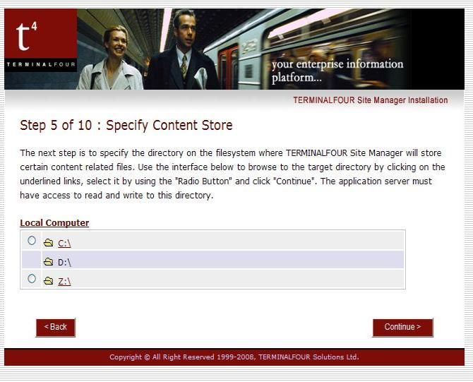 A sample page for specifying the content store.