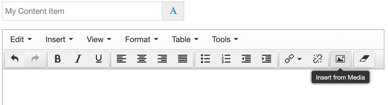 The HTML element with the Insert from Media button highlighted