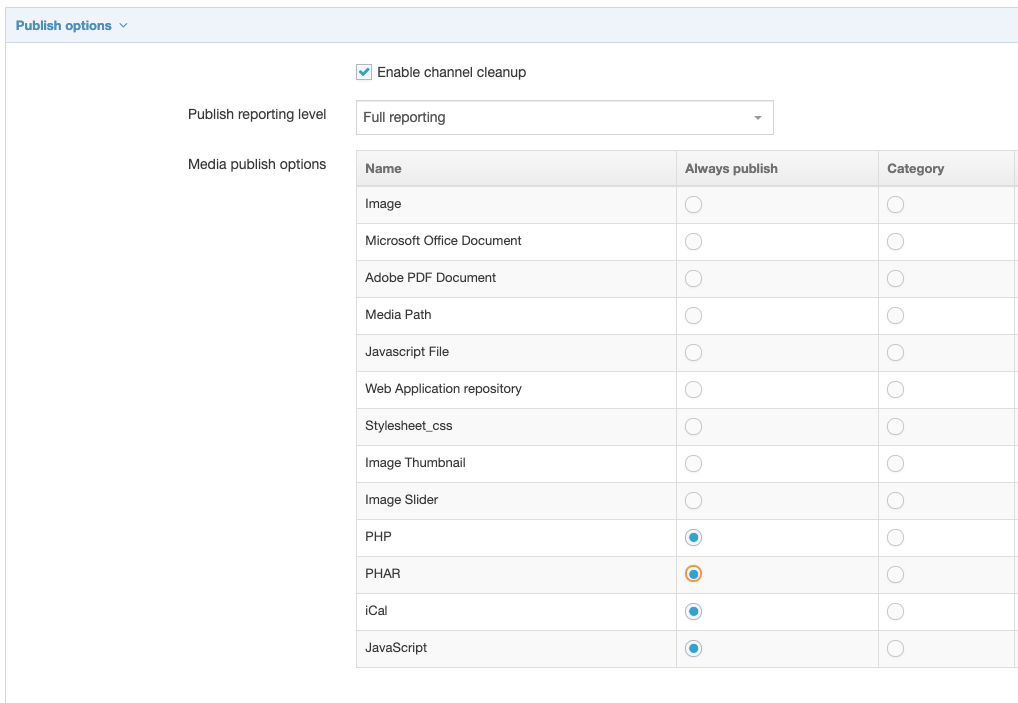 Screenshot of Enable Publish Outputs in Channels setings