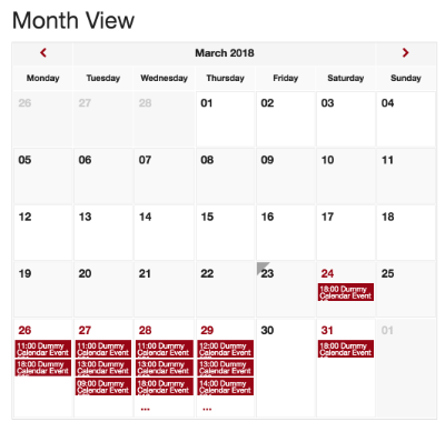 Screenshot of Events Calendar Main View