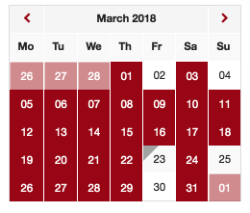 Screenshot of the Events Calendar Mini
