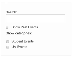 Screenshot of Events Calendar Generic Search