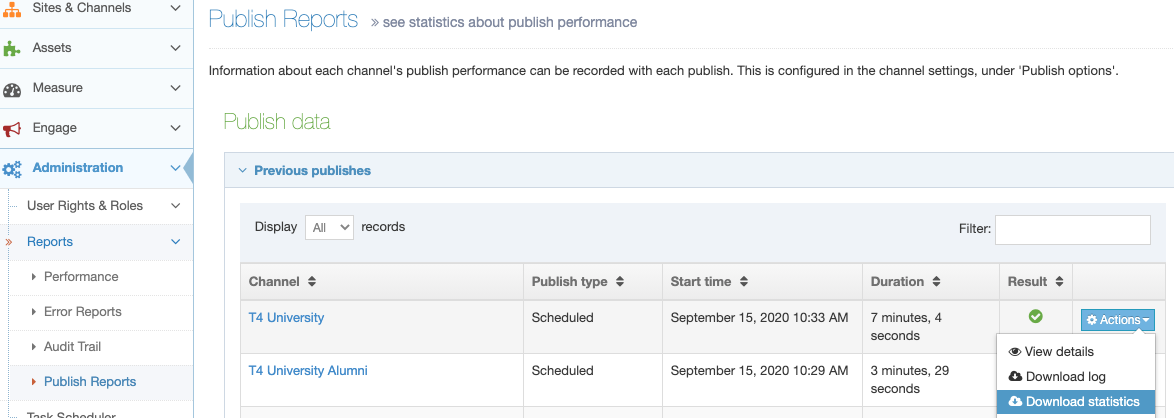 You can download the Publish Report as a .CSV file with the