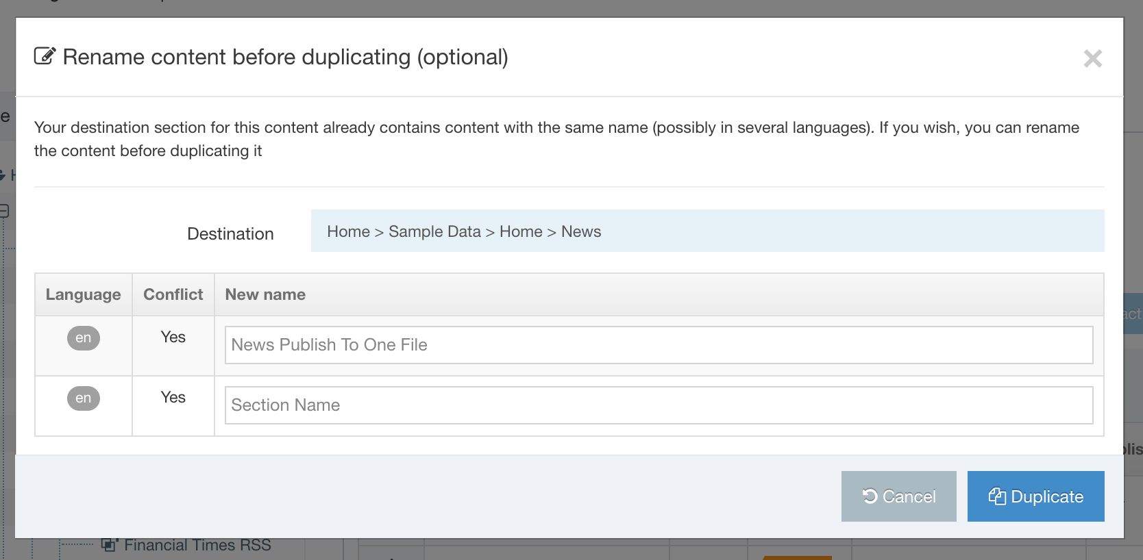 Screenshot of the rename duplicated content modal