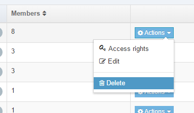 actions drop-down list