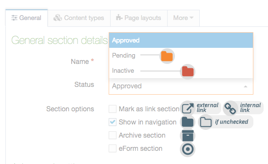 Screenshot showing the Section configuration screen overlaid with the types of Section icons